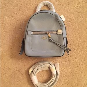 Coach Light Blue Pebbled Leather Andi Backpack